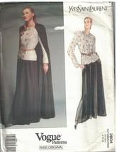 2604 Vogue Patrón de Costura Misses Capa Top Falda Paris Orig. Yves Saint - $49.40