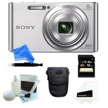 Sony DSCW830 20.1 Digital Camera with 2.7-Inch LCD (Silver) + Case + 16G... - $175.22