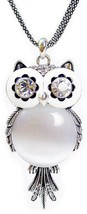Chaomingzhen Austrian Crystal Vintage Owl Pendant Long Necklace for Women image 1
