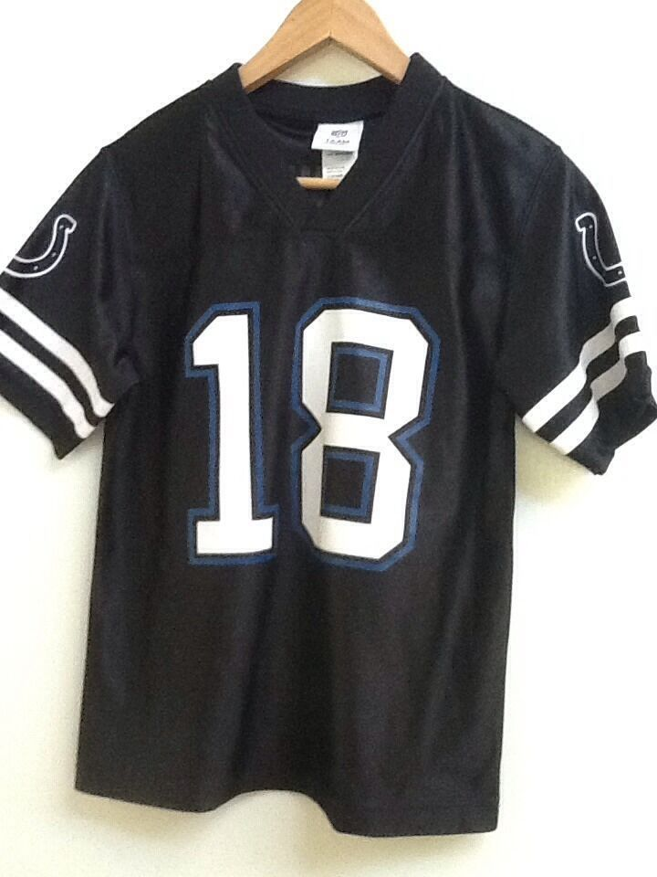 Primary image for Peyton Manning Colts NFL Team Apparel Black #18 Jersey Youth Large 12-14 EUC
