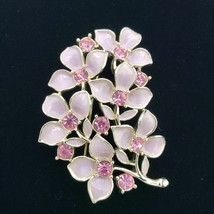 Sarah Coventry Pink Enamel Rhinestone Gold Brooch Pin - $27.72