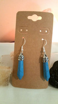 Natural Turquoise Point Earrings Earwires Marked 925 Sliver A Boho Reki - $12.86