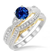 1.25 Carat Sapphire and Simulated  Diamond two tone Wedding bridal set - $99.99
