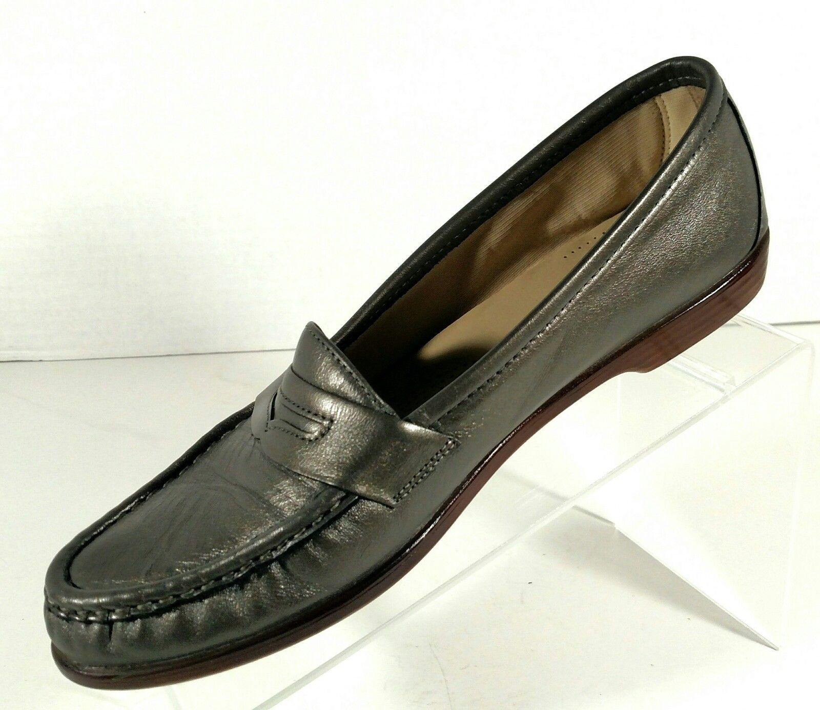 031114af160 SAS Tripad Comfort Shoes Penny Loafer Slip On Grey Leather Women s Size 10
