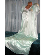 Pale Mint Green Embroidery Nylon Long Nightgown 2X Plus Size - $22.50