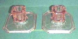 Tiffin Pink Glass Square No. 18 Low Candlesticks - $9.99