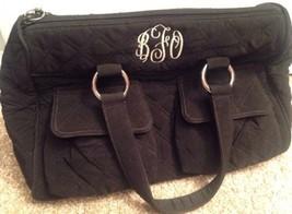 Vera Bradley Purse Black Quilted Monogrammed Bfo - $32.71