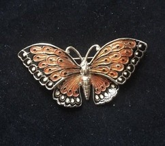 HG 1/20 12K Gold Filled Butterfly Pin Brooch Orange, Black. - $23.27