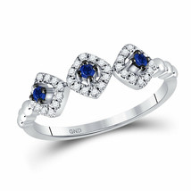 14kt White Gold Womens Round Blue Sapphire Fashion Ring 1/4 Cttw - £257.29 GBP