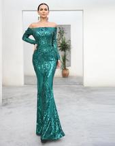 Long Sleeve Reflective Green Sequin Off Shoulder Retro Maxi Dress image 2