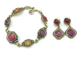 Napier Antiqued Gold Tone Multi Colored Rhinestone Bracelet Earrings Set - $15.84