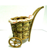 "Wheelbarrow Wicker Basket  9.5"" High 5.5"" Wide ( see photos ) - $12.86"