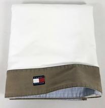 Tommy Hilfiger WHITE QUEEN FLAT SHEET Blue White Stripe BROWN Border 100... - $29.69