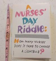 Hallmark Shoebox Greetings A Nurses Day Riddle Card Unused - $3.00