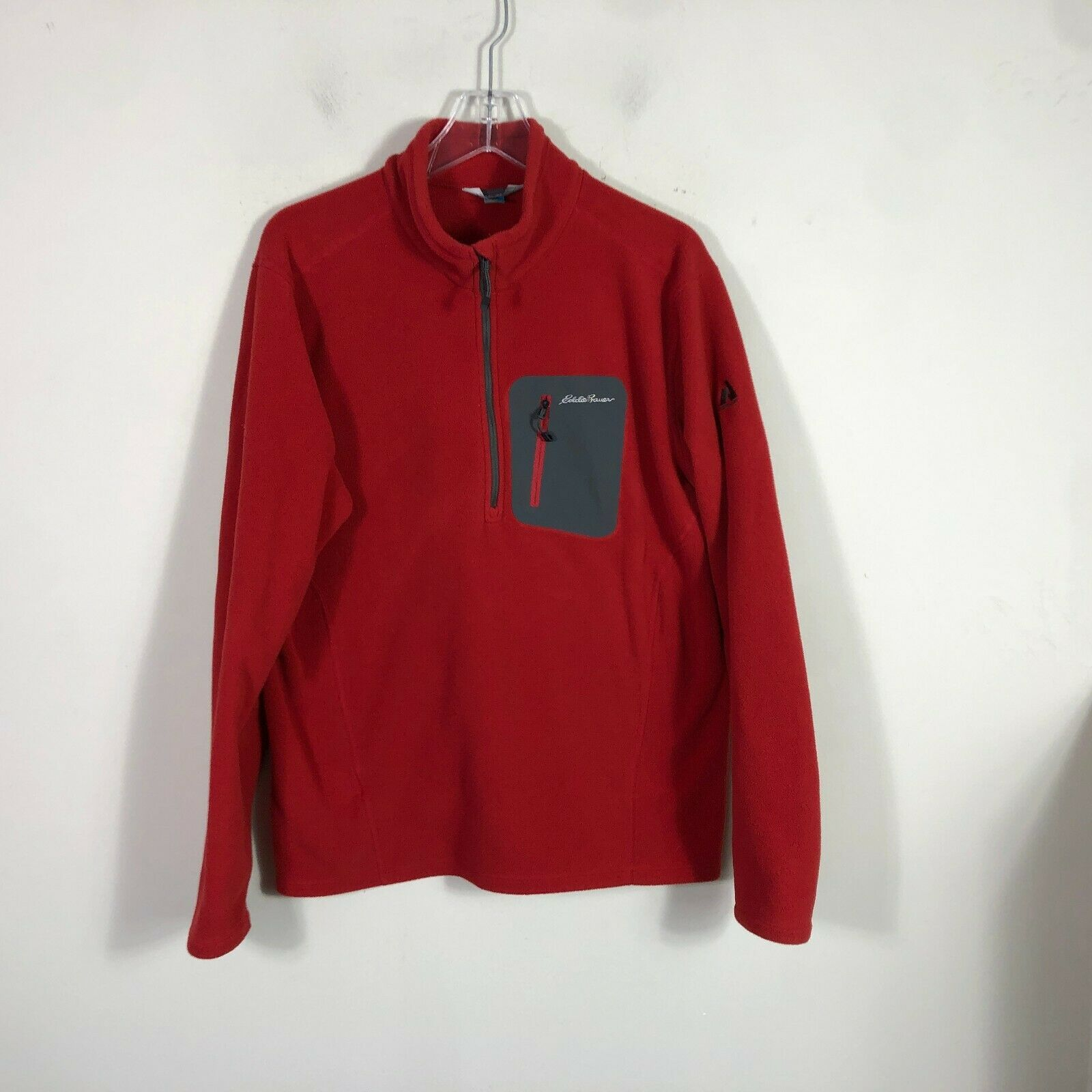 Eddie Bauer First Ascent Fleece Jacket Large Red Long Sleeve Pull Over 1/2 Zip image 6