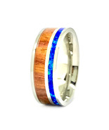 Men's Opal Wedding Band Koa Wood Stainless Steel Engagement Ring 7MM Width - $64.99