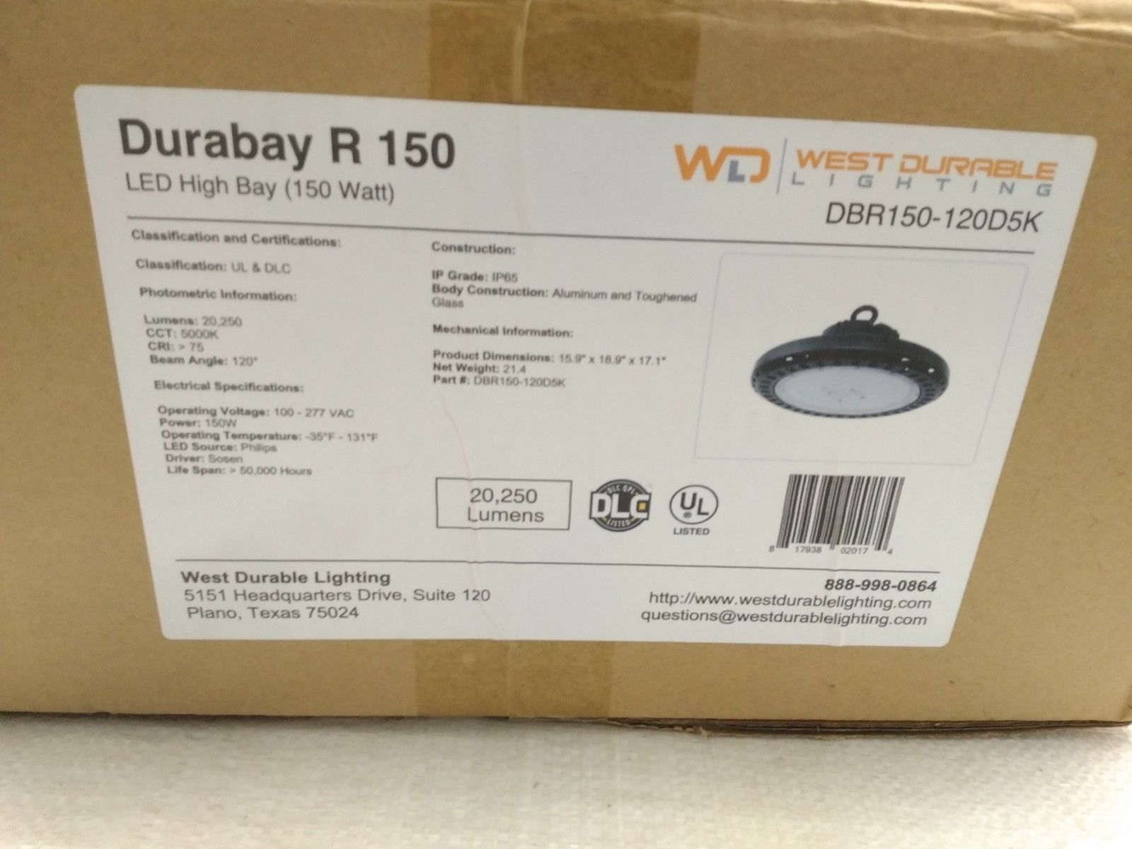 Durabay 150 Watt High Bay Light West Durable Lighting Part # DBR150-120D5K