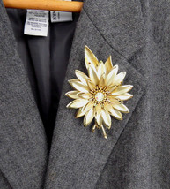 Statement Brooch Large Gold Flower Pin 1960s Aurora Borealis Rhinestone Center - $28.00