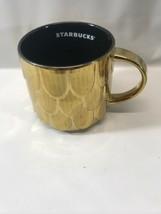 Starbucks 2019 Gold 50 Year Ann. Mermaid Scales Scalloped Coffee Mug 14 ... - $13.99