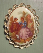 VICTORIAN DANCING MAN WOMAN CAMEO PORTRAIT NECKLACE PENDANT PIN BROOCH V... - $9.49