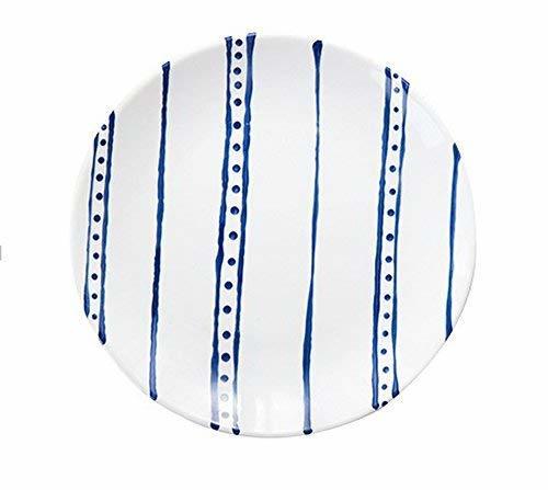 Gentle Meow 8 Inch Creative Cartoon Ceramic White Round Dishes, Different Stripe - $19.23