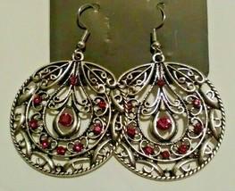 Paparazzi Wheel Red Rhinestone Silver Earrings - $11.87