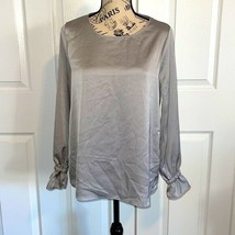 downeast satin like silver GRAY womens blouse size small NEW - $24.50