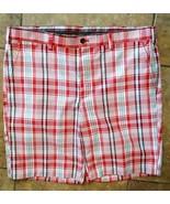 Men's IZOD GOLF Sports Shorts Size 40 Red, White & Black Plaid - $17.99