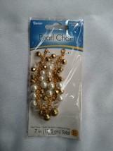 Darice Pearl Chain 7 inch White Gold New bracelet Glass Beads Jewelry su... - $7.91