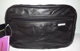 NEW EMBASSY VERONA LEATHER LARGE ZIPPERED TOILETRY TRAVEL SHAVE KIT BLACK - $29.65