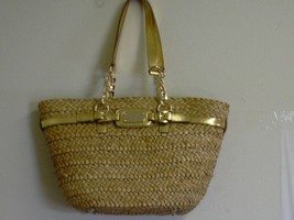 Womens MICHAEL KORS Hamilton natural Straw Large Chain Tote Handbag NWT - $217.75