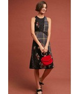 NWT ANTHROPOLOGIE ALVA MIXED FLORAL & PLAID EMBROIDERED MIDI DRESS by MA... - $99.74