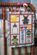 Plastic Canvas Nursery Crib Sampler Tote Bag Bunny Basket Duck Pull Toys... - $7.99