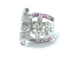 Platinum Vintage Gem Ruby & Old European Cut NATURAL Diamond Jewelry Rin... - $3,910.50