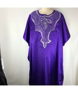 African Scene Kaftan Womens Tunic Kaftan Pull Over Purple Embroidered Bo... - $69.29
