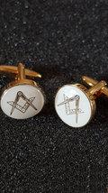 gold & Silver Enamelled Masonic Cufflinks no g Cufflinks in gift box, cuff links image 2