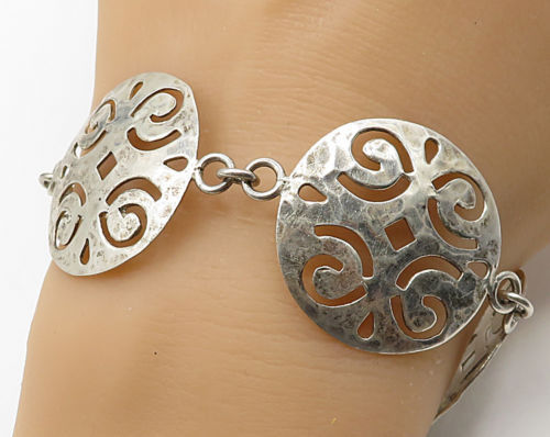 Primary image for 925 Sterling Silver - Vintage Swirled Cut Out Circle Detail Bracelet - B2485