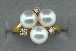MIKIMOTO 18K Yellow Gold 3 Pearl and 3 Diamond Ring (Size 4) - $685.00