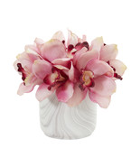 Cymbidium Orchid Artificial Arrangement in Marble Vase - $50.88
