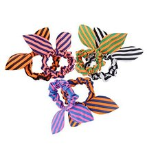 [Set of 10]Stripes Rabbit Ear No-damage Elastics Ponytail Holders, Random Colour