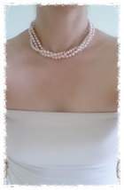Elegant, Multi Strand Choker Style Necklace with Gray and Mint Green Glass Pearl image 5