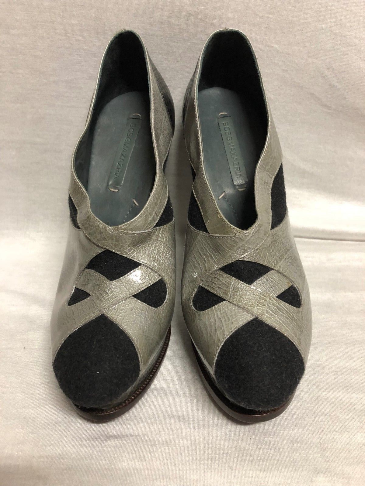 BCBG MAXAZRIA SHOES Platform Heel Nivea Black Gray Shiny suede  Size: 10B/40