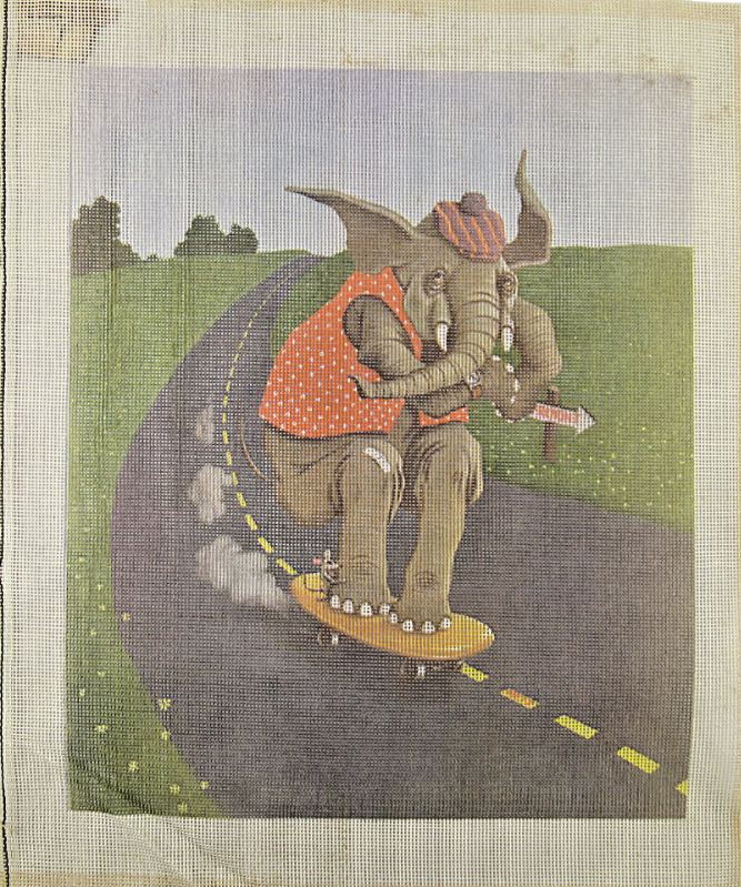 Primary image for 1970's Circus Elephant & Mouse on Skateboard Hand Painted Needlepoint 12CT