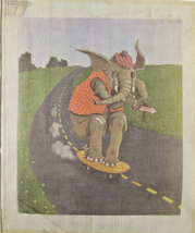 1970's Circus Elephant & Mouse on Skateboard Hand Painted Needlepoint 12CT - $45.94