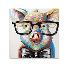 V-inspire Art,32x32 Inch Colorful Animal Painting Cute Pig with Glasses ... - $102.15
