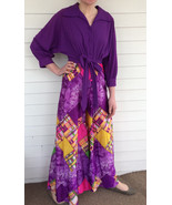 70s Palazzo Jumpsuit Purple Print Retro Funky Vintage Lounger M - $63.00
