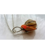 Refreshing Moments necklace: Natural snail with orange beads - $36.00