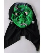 Adult Halloween Mask Scary Green with Black Hood - $9.89