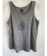Life is Good Women's SMALL 100% Cotton Gray Tank Top Leaf Print - $12.87