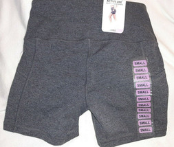 NWT Active Life Missy Lux Yoga Stretch Shorts Black Heather size S MSRP $58 - $14.80